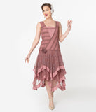 1920s Style Mauve Pink Mesh Embroidered Charley Flapper Dress