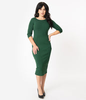 Fitted Vintage Scoop Neck 3/4 Long Sleeves Pencil-Skirt Dress