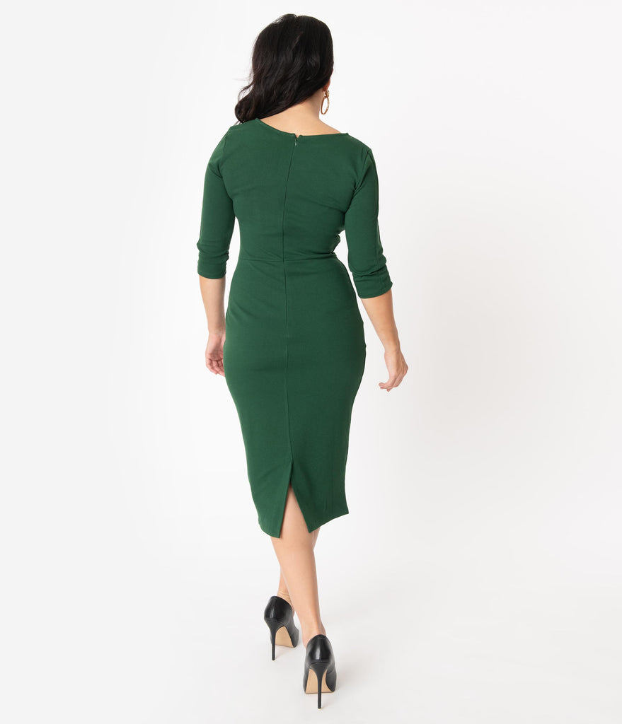 Unique Vintage 1960s Style Emerald Green Long Sleeve Mod Wiggle Dress