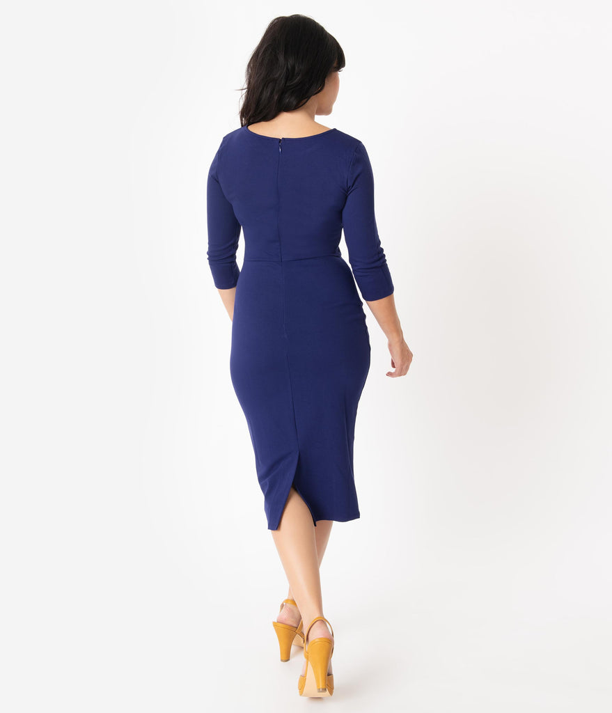 Unique Vintage 1960s Navy Long Sleeve Mod Wiggle Dress