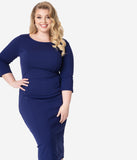 Unique Vintage Plus Size 1960s Navy Long Sleeve Mod Wiggle Dress