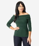 Unique Vintage Emerald Green Off Shoulder Cowl Nina Top