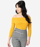 Unique Vintage Mustard Off Shoulder Cowl Sleeved Nina Top