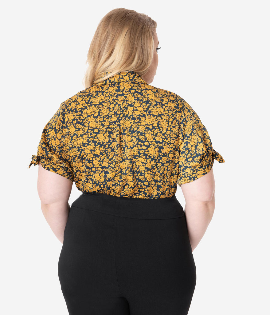 Unique Vintage Plus Size Navy & Mustard Floral Colvin Blouse