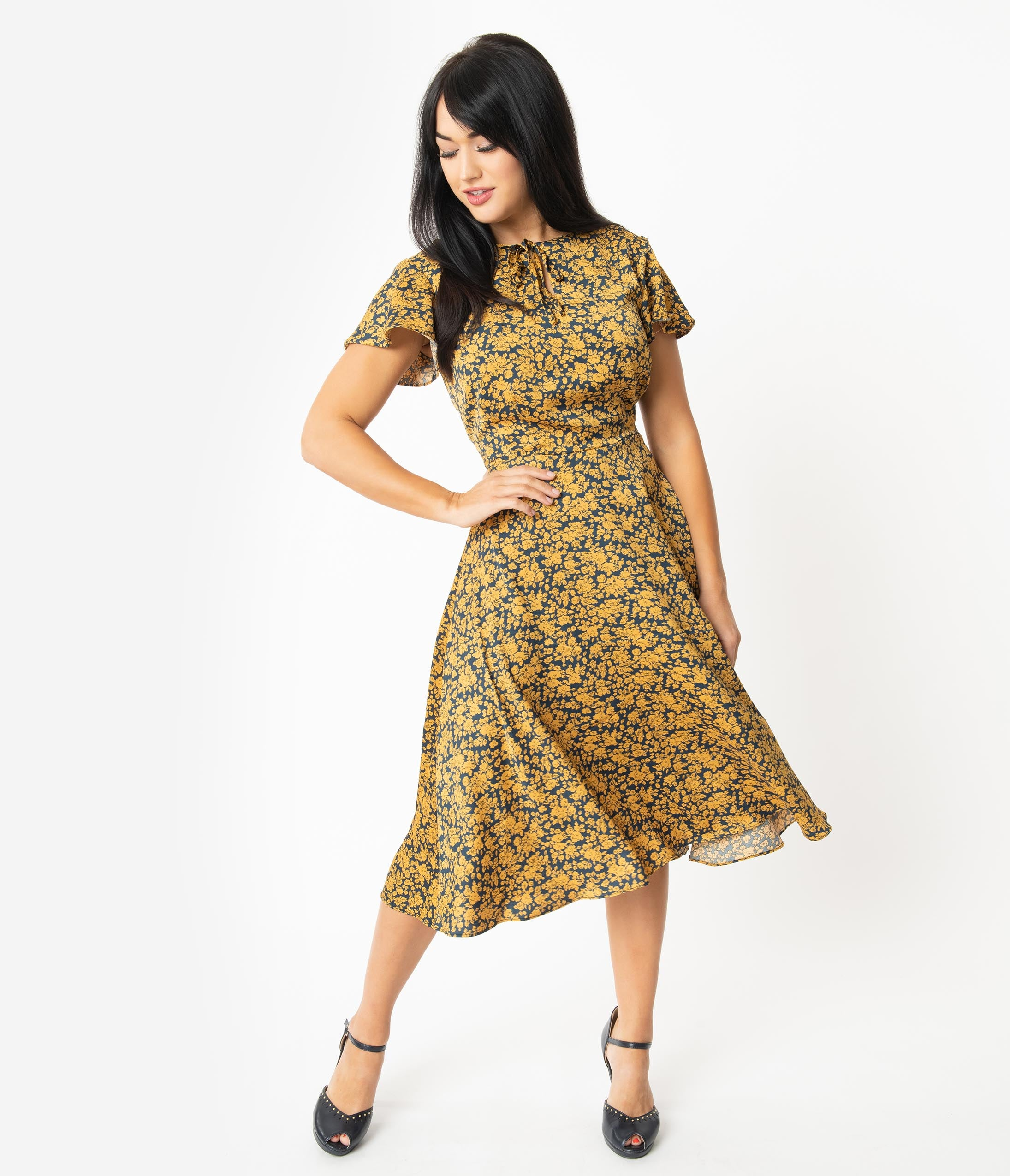1940s Dresses | 40s Dress, Swing Dress Unique Vintage 1940S Navy  Mustard Floral Formosa Swing Dress $78.00 AT vintagedancer.com