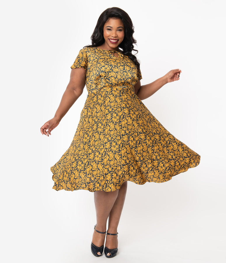 Unique Vintage Plus Size 1940s Navy & Mustard Floral Formosa Swing Dress