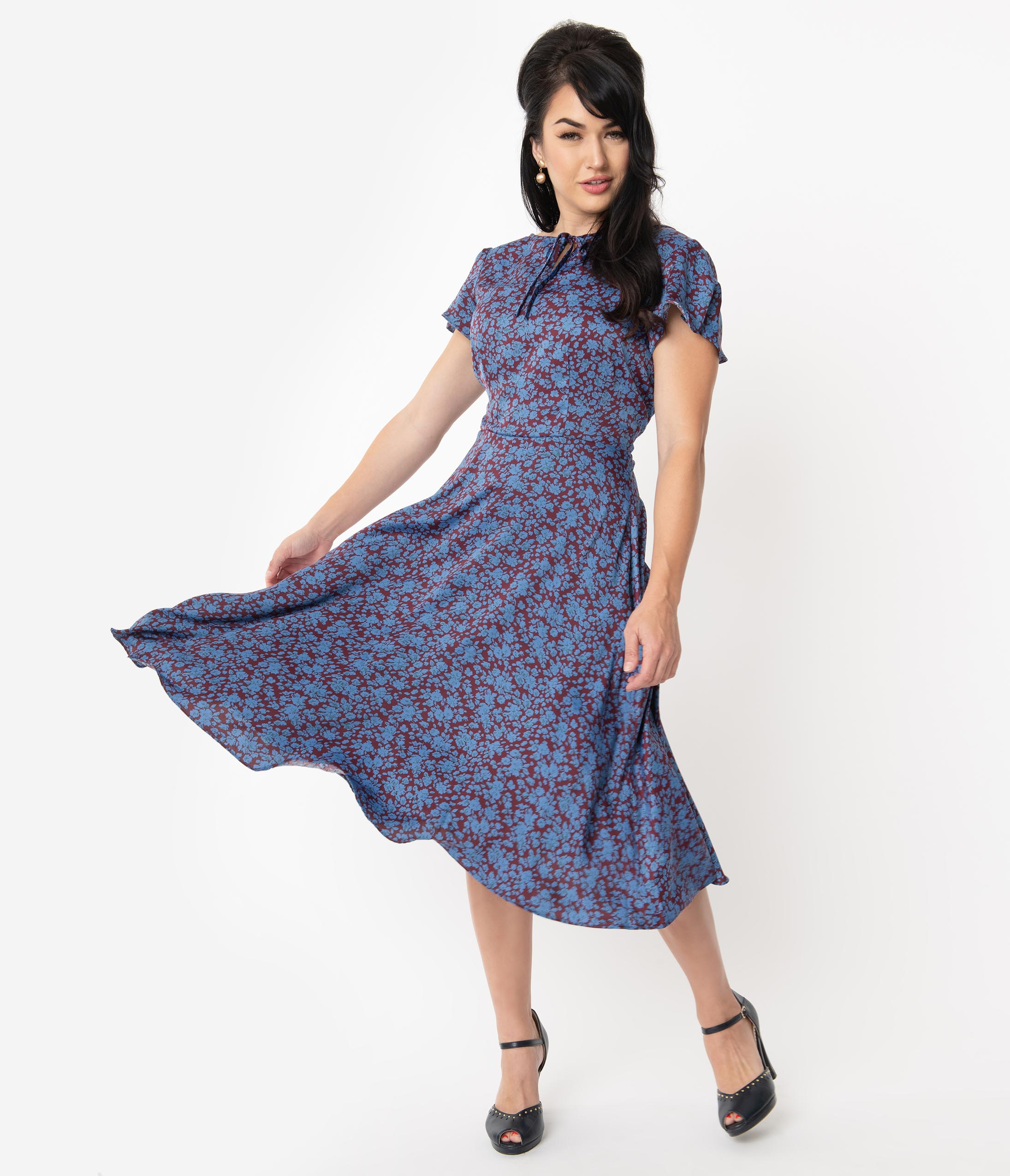 Swing Dance Clothing You Can Dance In Unique Vintage 1940S Style Maroon  Blue Floral Formosa Swing Dress $78.00 AT vintagedancer.com