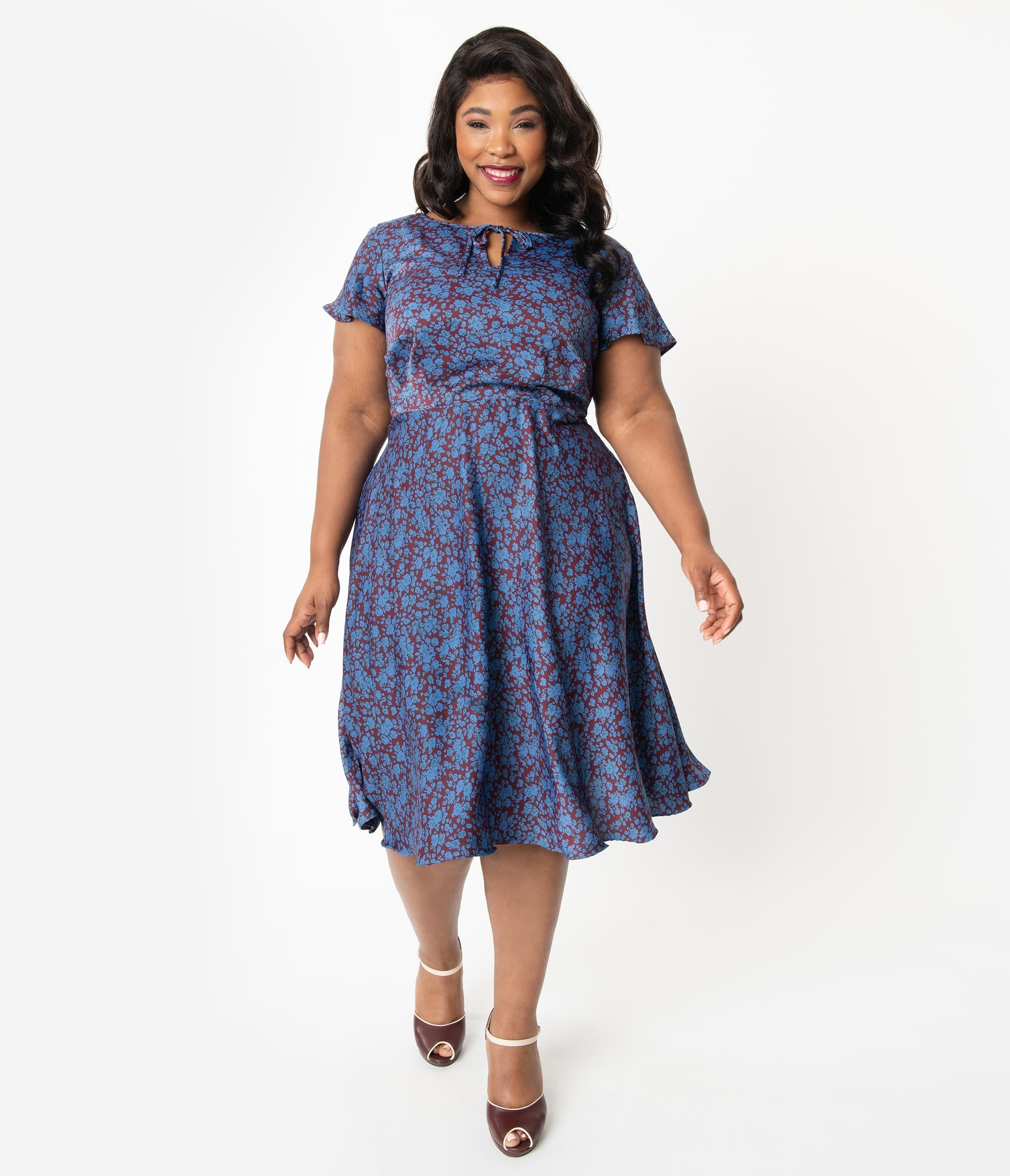 1940s Dresses | 40s Dress, Swing Dress Unique Vintage Plus Size 1940S Style Maroon  Blue Floral Formosa Swing Dress $78.00 AT vintagedancer.com