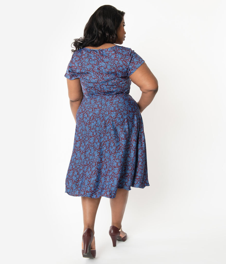 Unique Vintage Plus Size 1940s Style Maroon & Blue Floral Formosa Swing Dress