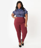 Unique Vintage Plus Size Burgundy High Waist Rizzo Cigarette Pants
