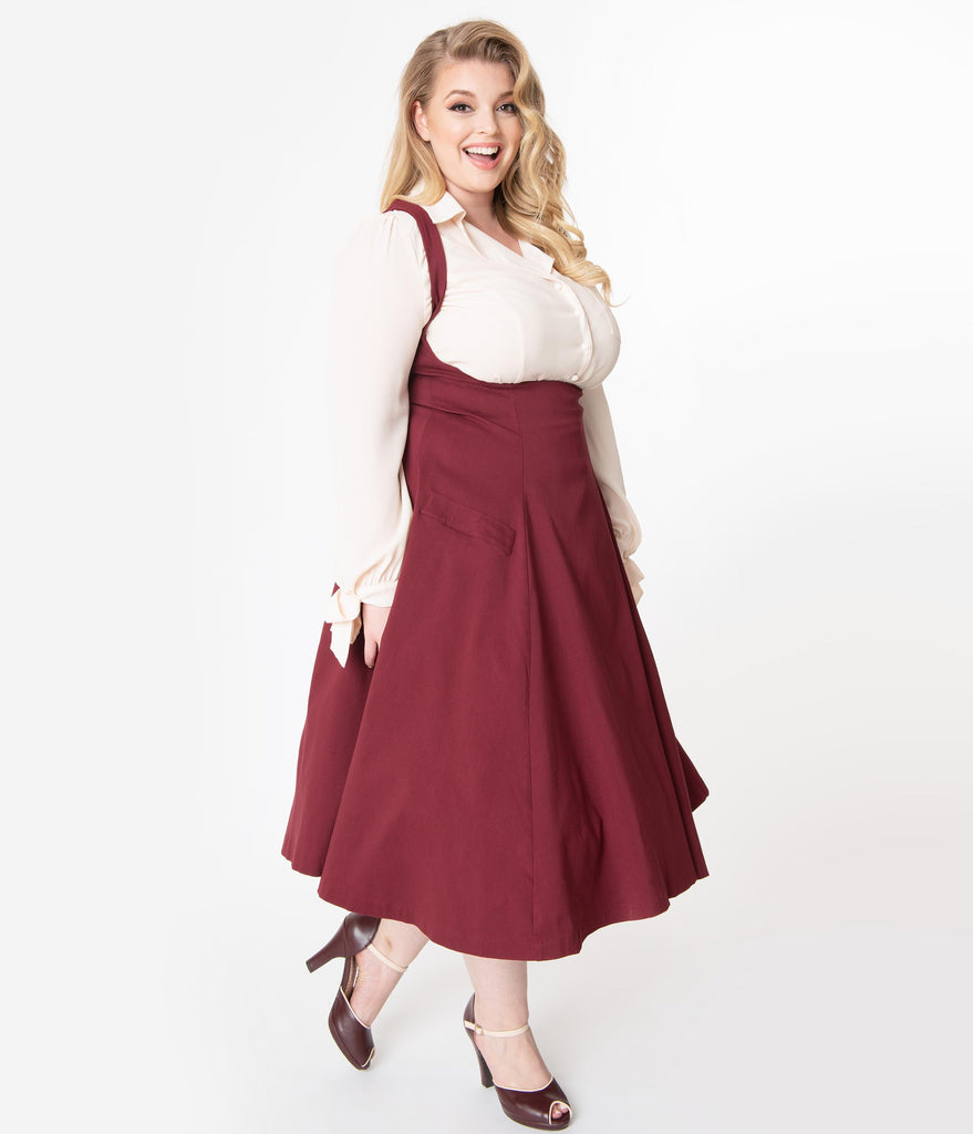 Unique Vintage Plus Size 1950s Burgundy Amma Suspender Swing Skirt