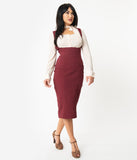 Unique Vintage Burgundy Red Fontaine Suspender Pencil Skirt