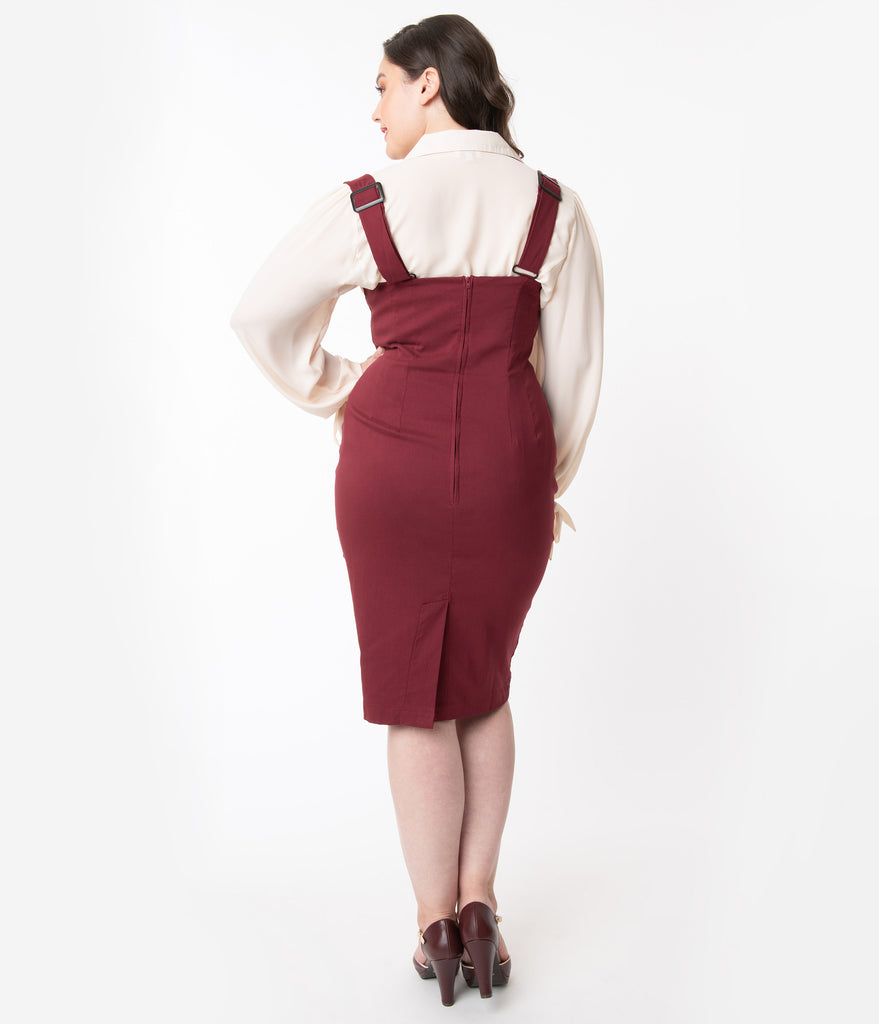 Unique Vintage Plus Size Burgundy Red Fontaine Suspender Pencil Skirt