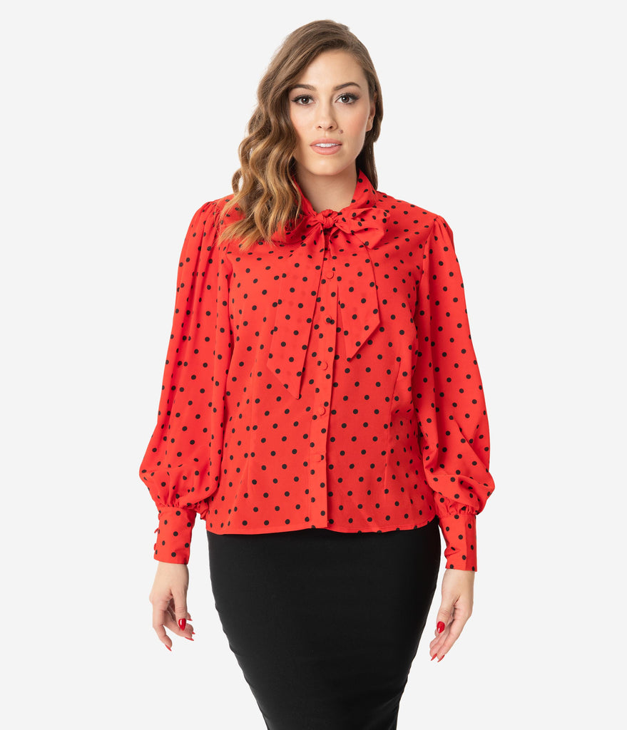 Unique Vintage Red & Black Polka Dot Neck Tie Gwen Blouse
