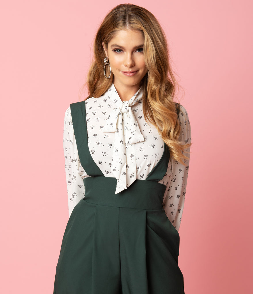 Unique Vintage White & Black Bow Print Gwen Blouse