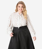 Unique Vintage Plus Size White & Black Bow Print Gwen Blouse