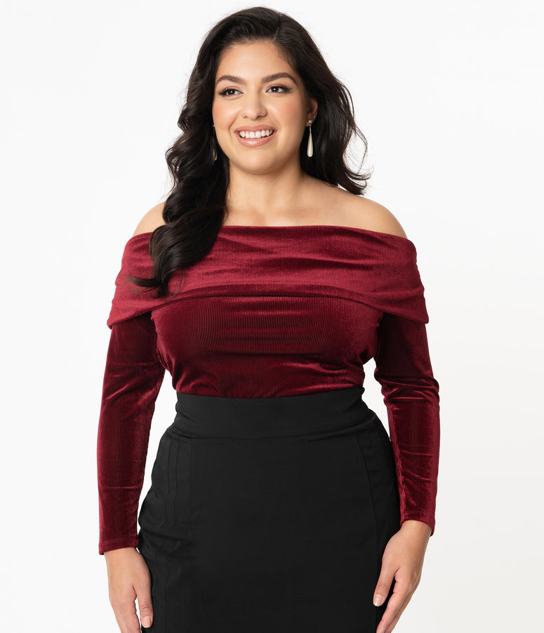 Unique Vintage Plus Size Burgundy Velvet Corduroy Nina Top