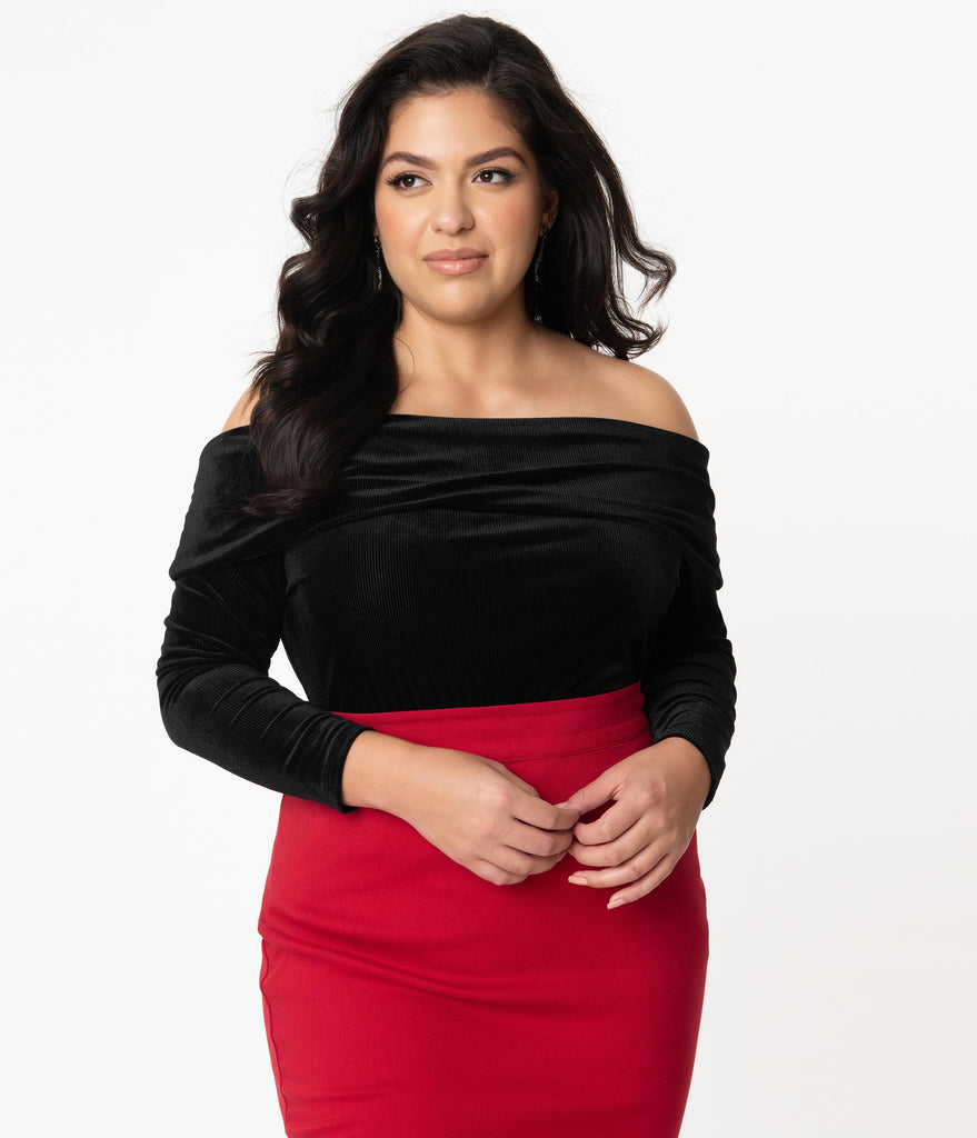 Unique Vintage Plus Size Black Velvet Corduroy Nina Top