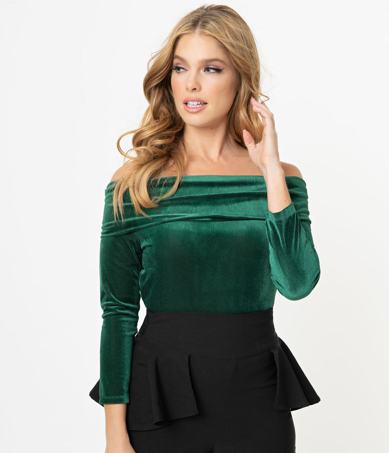 Unique Vintage Emerald Velvet Corduroy Nina Top