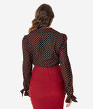 Unique Vintage 1950s Style Black & Rust Polka Dot Izzy Blouse