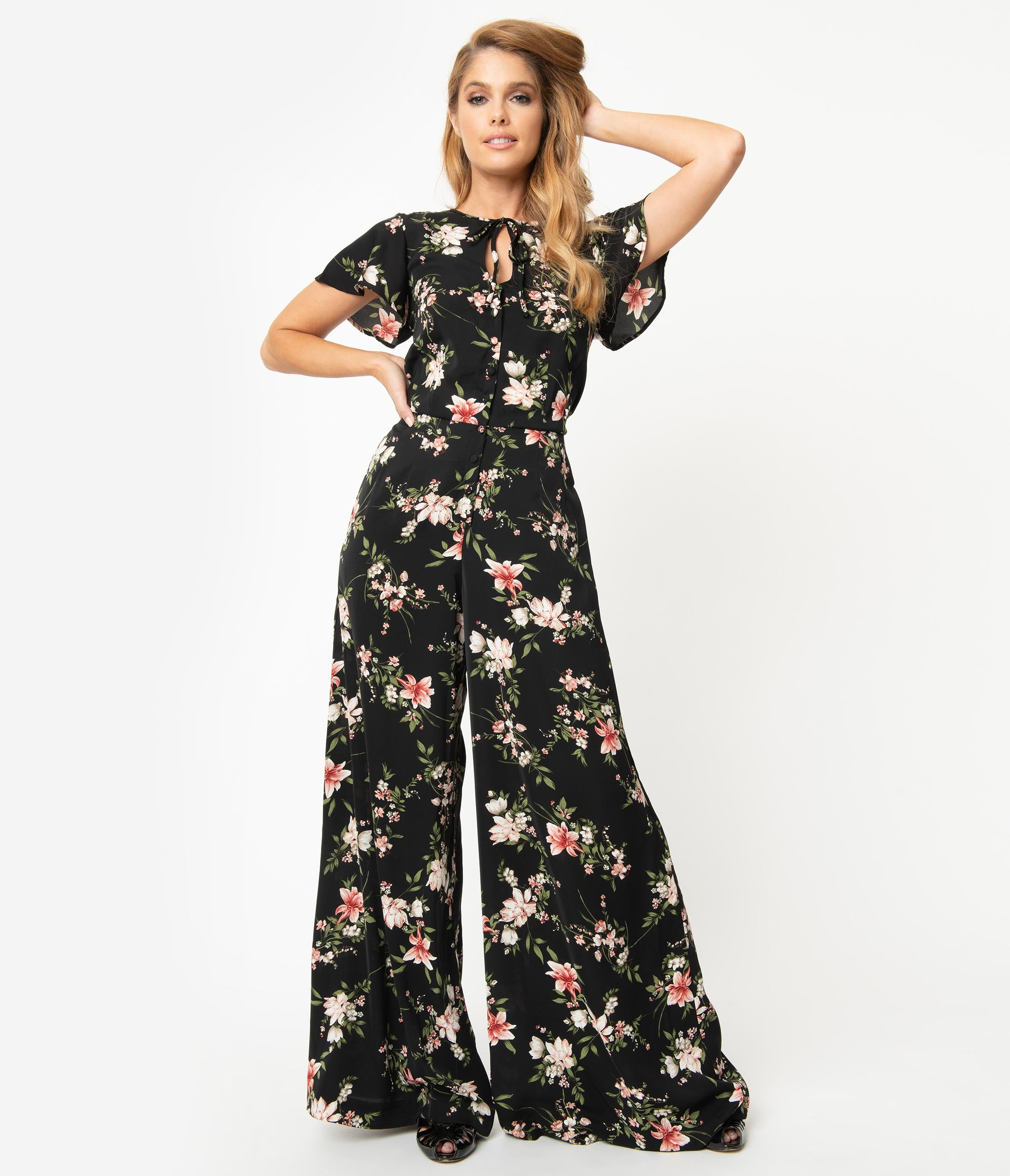 Vintage High Waisted Trousers, Sailor Pants, Jeans Unique Vintage 1960S Black  Pink Floral Orleans Jumpsuit $78.00 AT vintagedancer.com