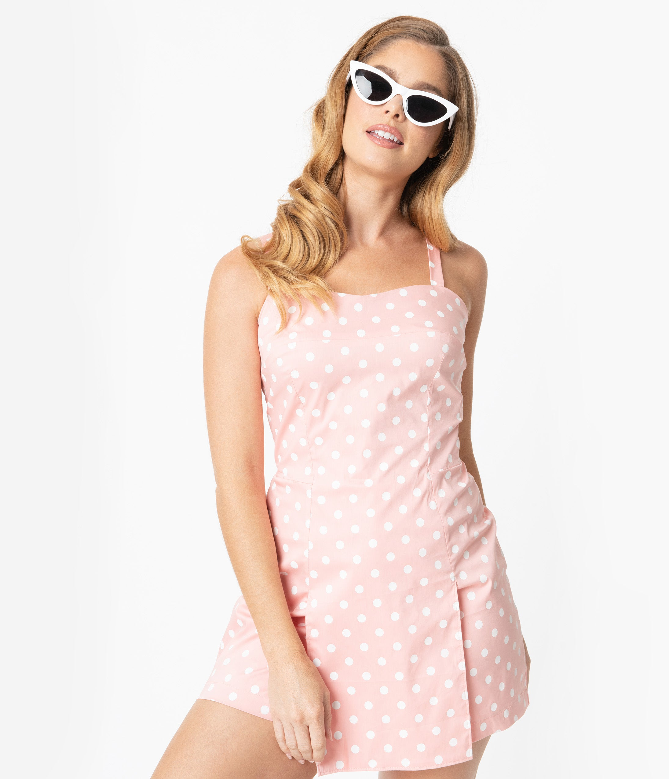 Vintage Rompers, Playsuits | Retro, Pin Up, Rockabilly Playsuits Unique Vintage Light Pink  White Dot Print Skirted Dolly Romper $58.00 AT vintagedancer.com