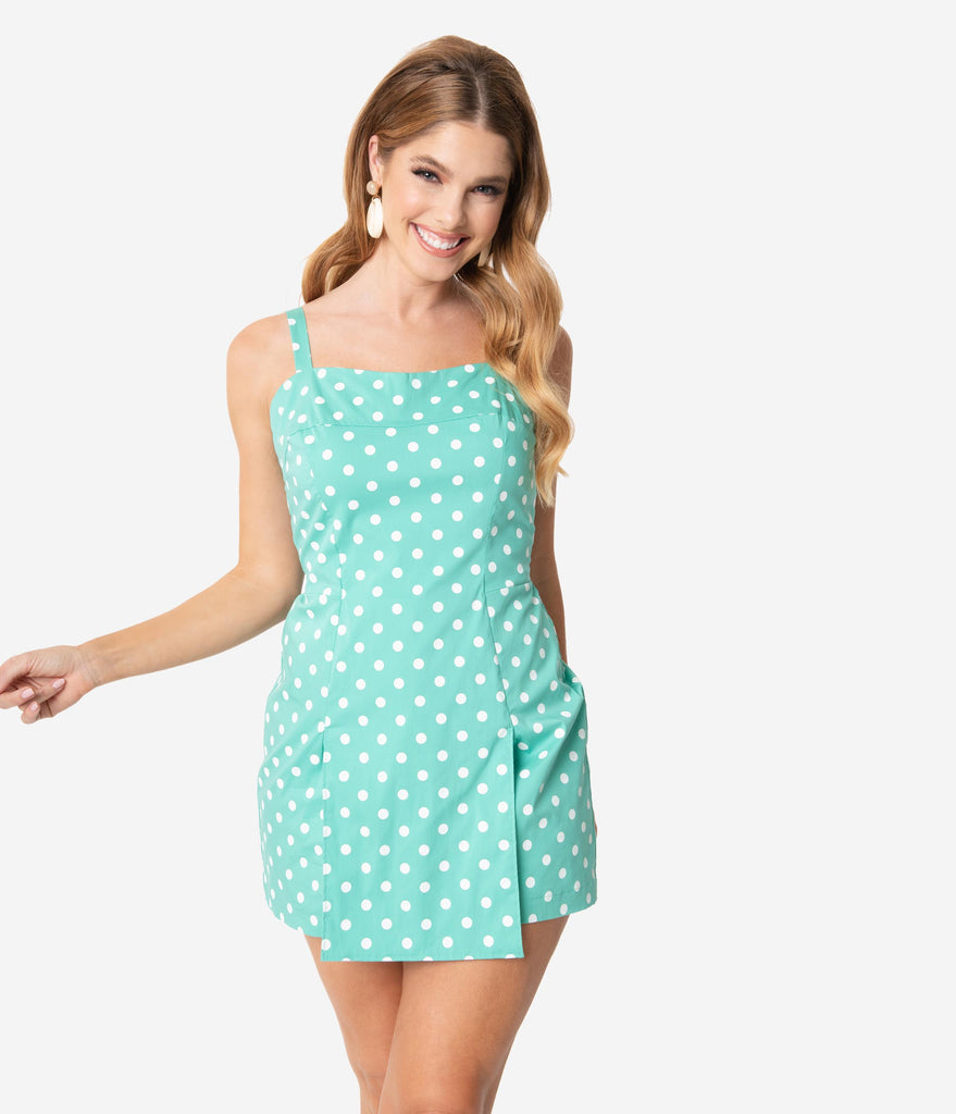 Unique Vintage Mint & White Dot Print Skirted Dolly Romper