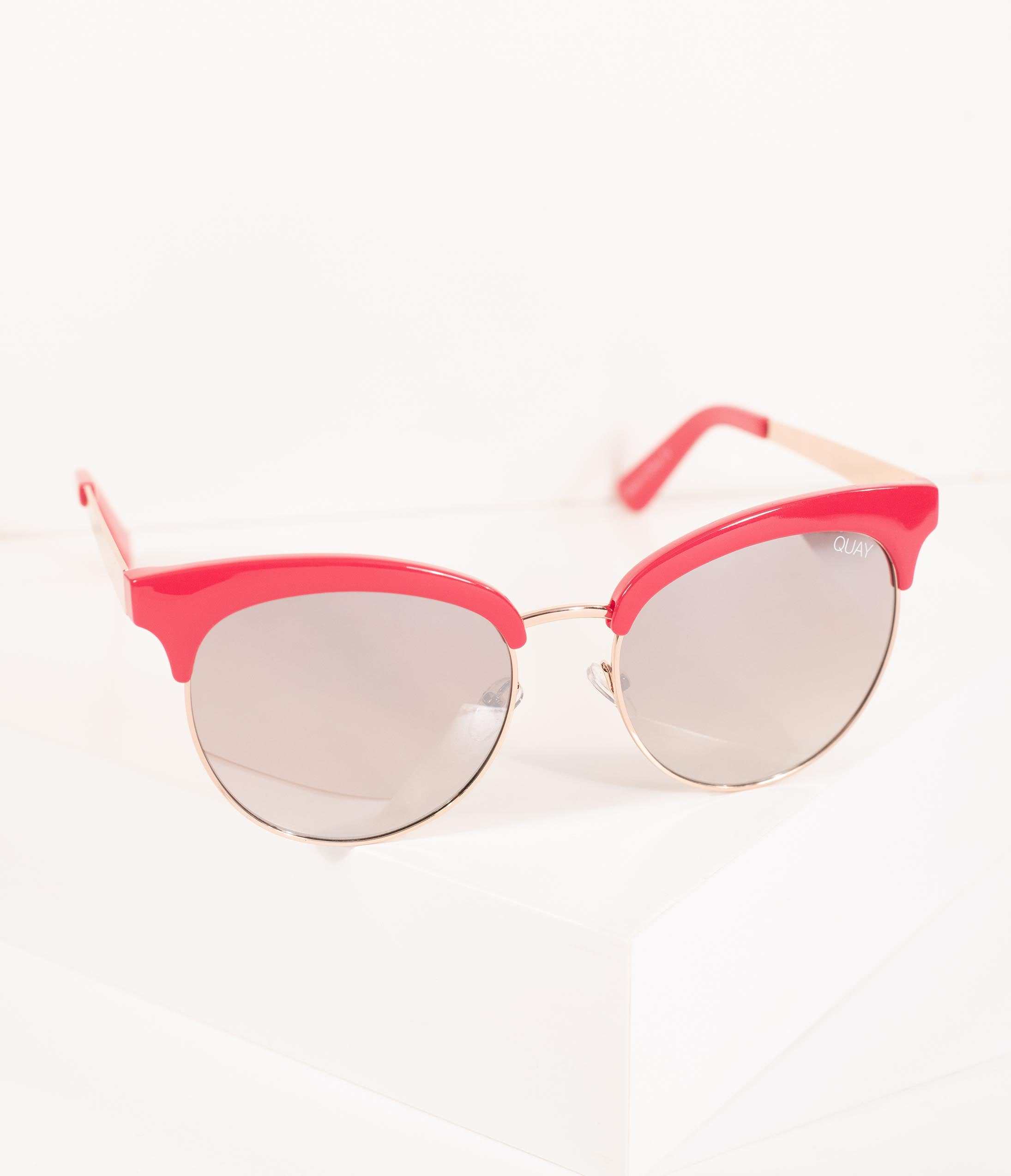 1960s Sunglasses | 70s Sunglasses, 70s Glasses Quay Retro Style Red Cherry Cat Eye Sunglasses $60.00 AT vintagedancer.com
