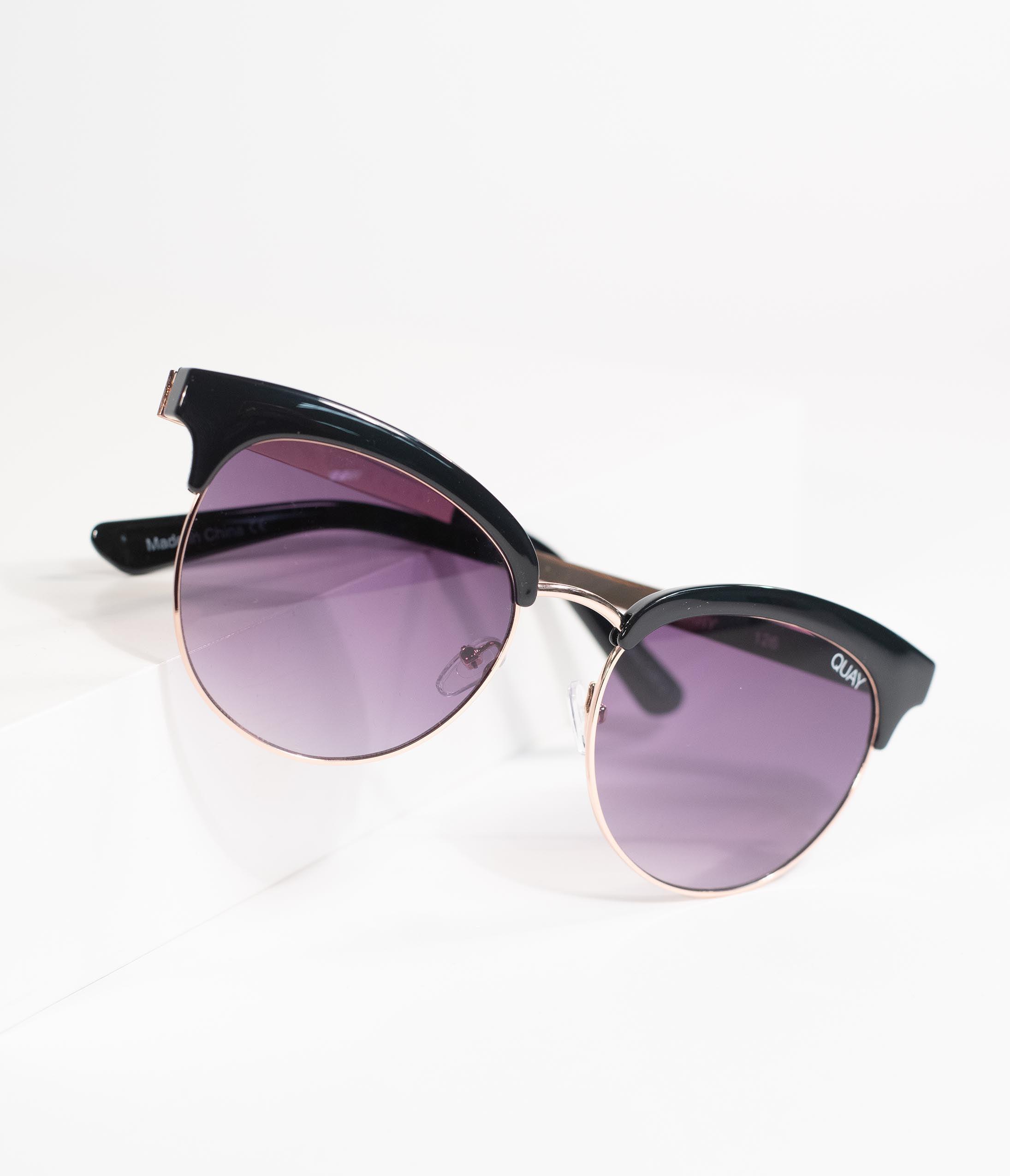 Retro Sunglasses | Vintage Glasses | New Vintage Eyeglasses Quay Retro Style Black Cherry Cat Eye Sunglasses $60.00 AT vintagedancer.com