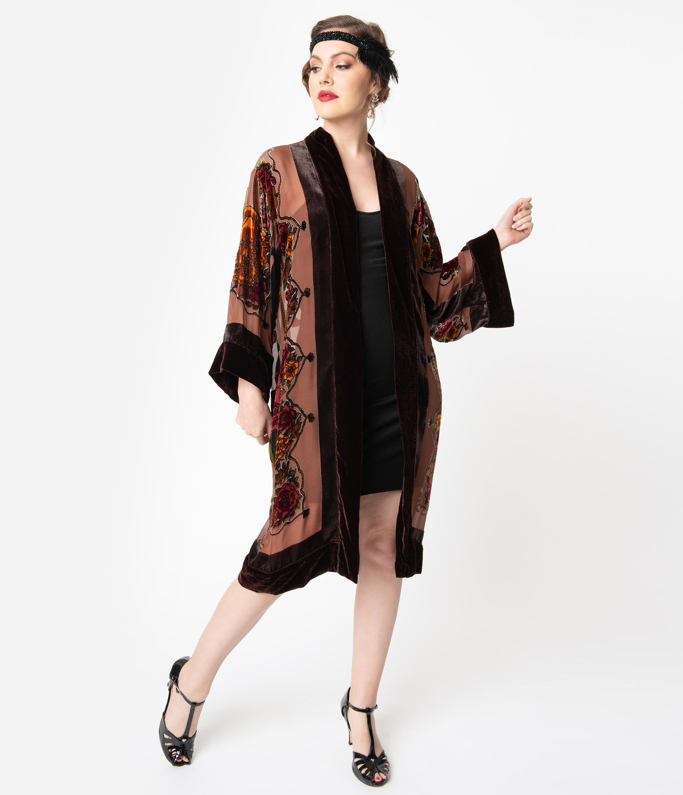 Vintage Coats & Jackets | Retro Coats and Jackets 1920S Style Brown Burnout Velvet Beaded Floral Flapper Coat $238.00 AT vintagedancer.com