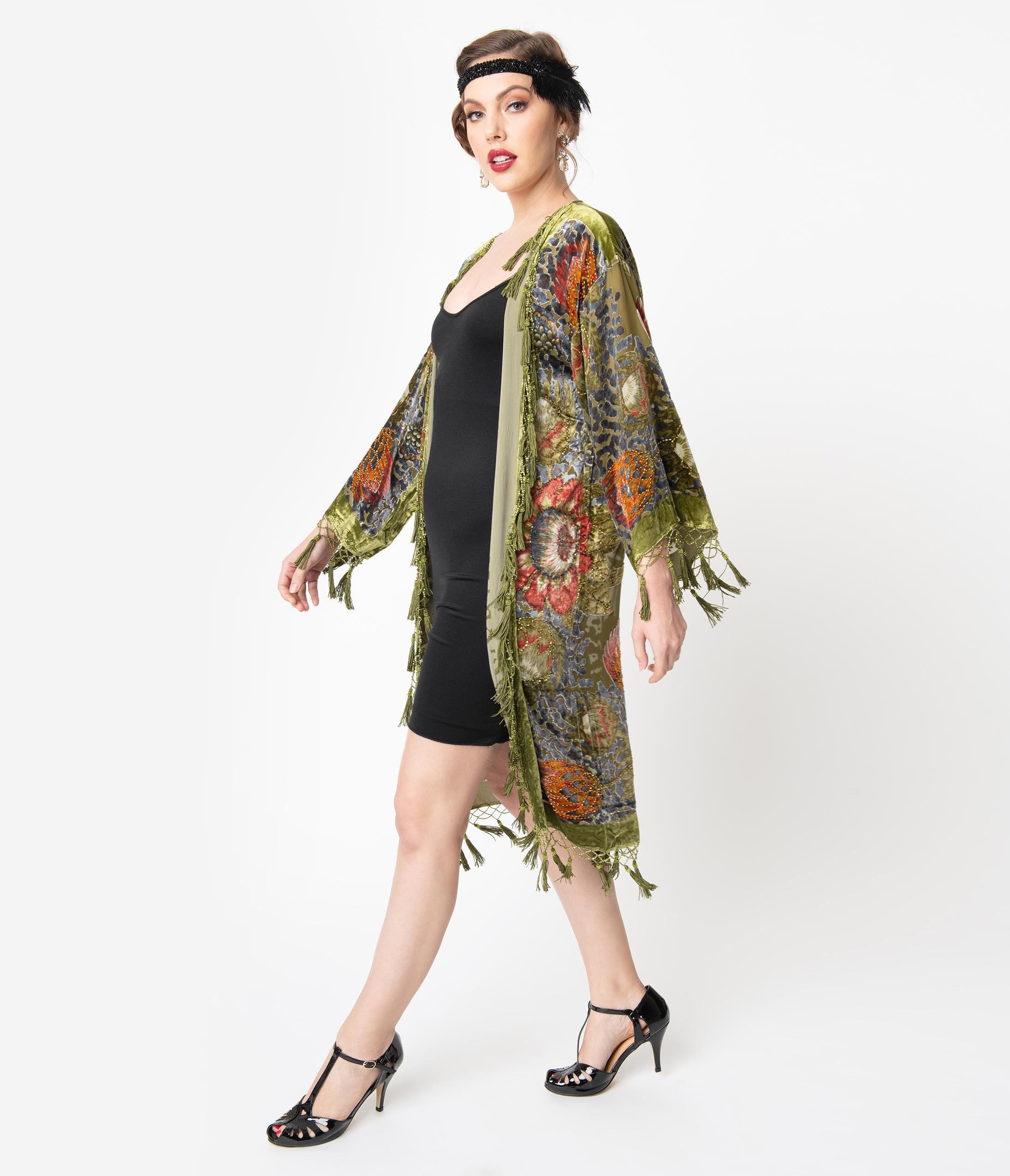 History of 1920s Coats, Furs and Capes Vintage Style Olive Green Tassel Floral Devore Velvet Beaded Flapper Coat $224.00 AT vintagedancer.com