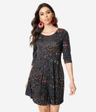 Black Science Lab Print Long Sleeve Sweater Knit Flare Dress