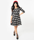 Black & White Cat Print Knit Fit & Flare Sweater Dress