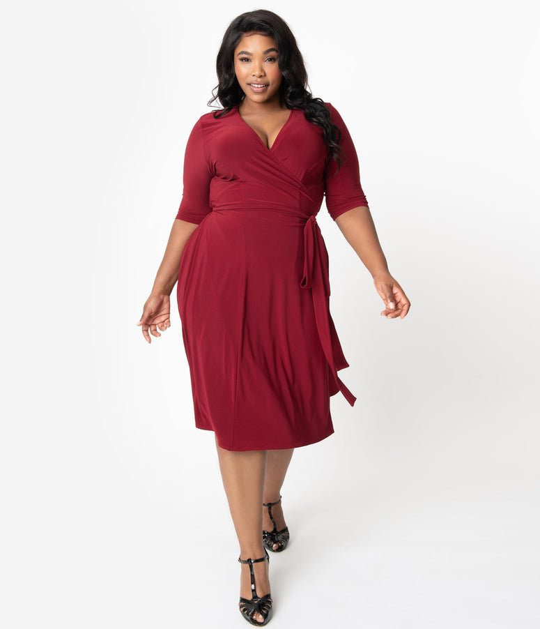Retro Style Plus Size Burgundy Red Sleeved Essential Wrap Dress