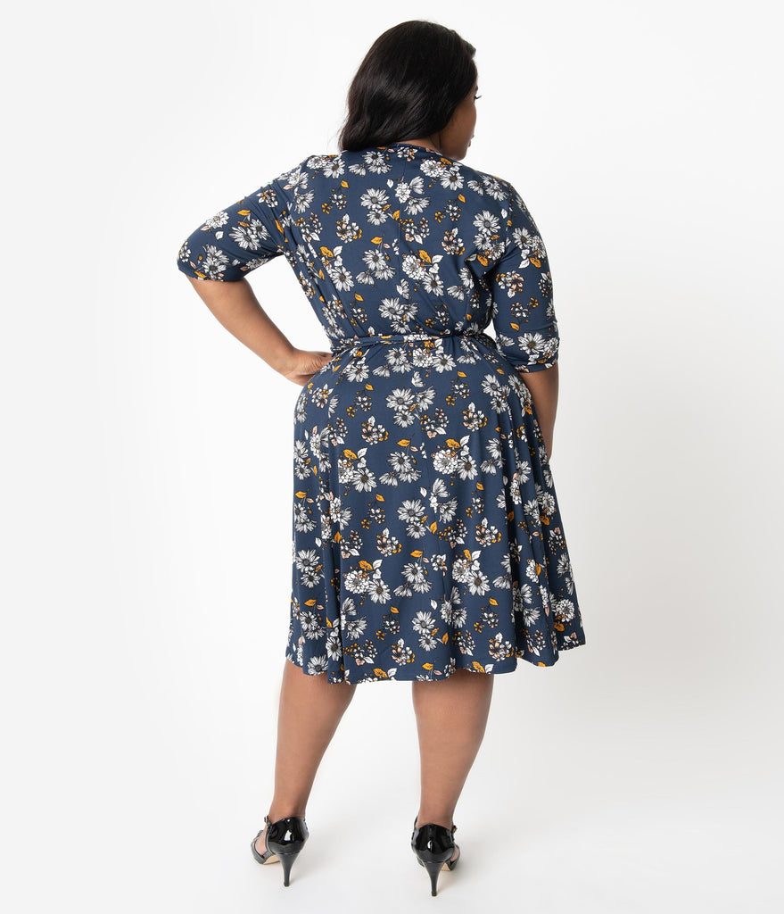 Retro Style Plus Size Navy & Golden Floral Sleeved Essential Wrap Dress