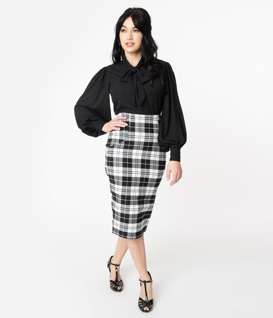 Unique Vintage Black & White Plaid Tracy Wiggle Skirt
