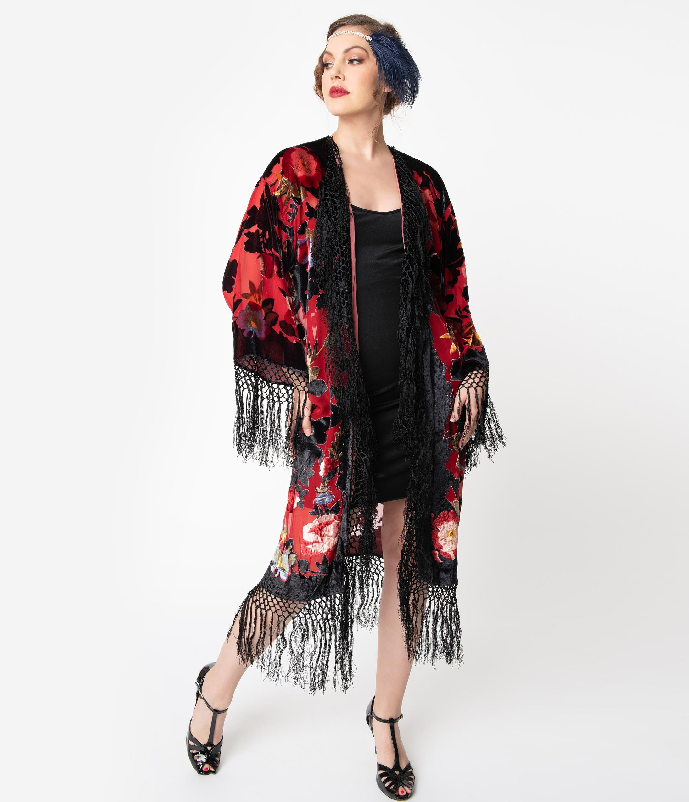 Vintage Coats & Jackets | Retro Coats and Jackets 1920S Style Red  Black Floral Devore Velvet Fringe Flapper Coat $194.00 AT vintagedancer.com