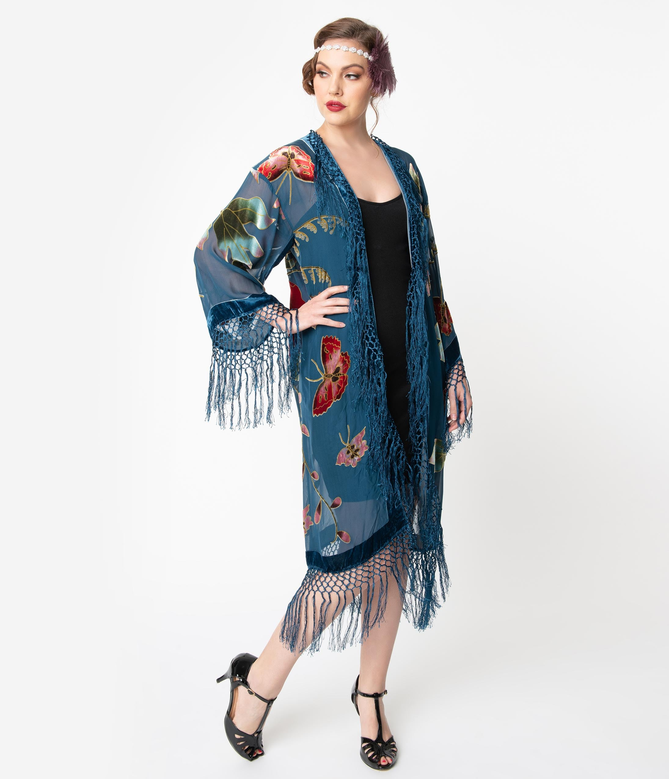 History of 1920s Coats, Furs and Capes Vintage Style Teal Blue Floral Devore Velvet Fringe Flapper Coat $202.00 AT vintagedancer.com