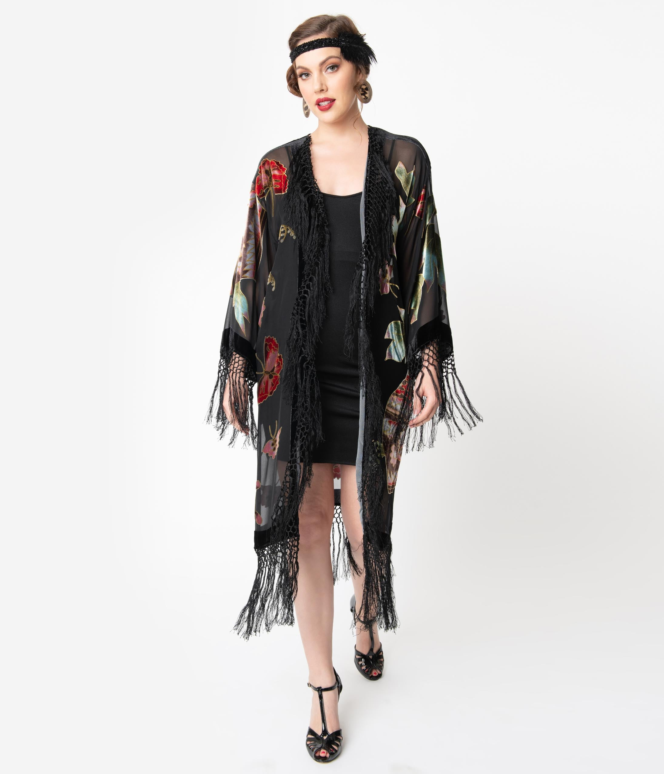 Vintage Coats & Jackets | Retro Coats and Jackets Vintage Style Black Floral Devore Velvet Fringe Flapper Coat $194.00 AT vintagedancer.com