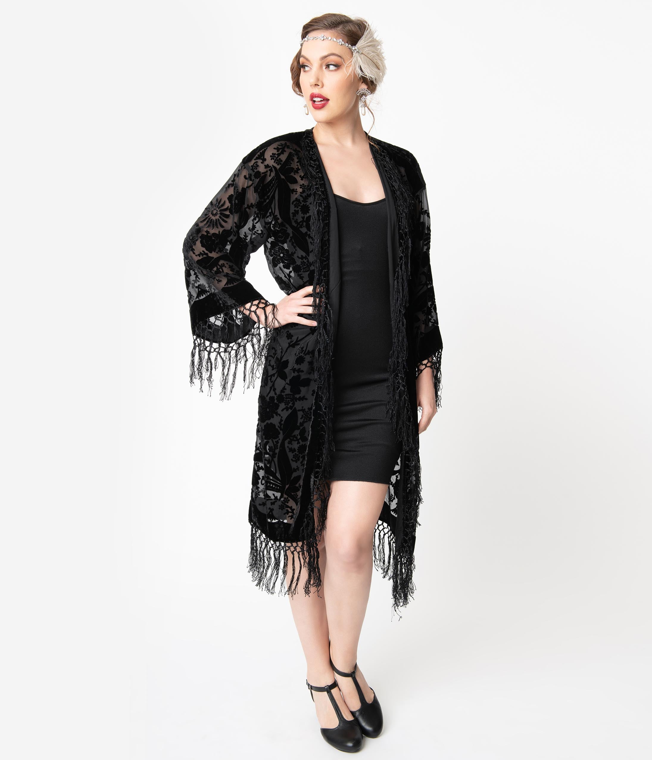 Vintage Coats & Jackets | Retro Coats and Jackets 1920S Style Black Devore Velvet Fringe Long Flapper Coat $194.00 AT vintagedancer.com