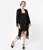 1920s Style Black Devore Velvet Fringe Long Flapper Coat
