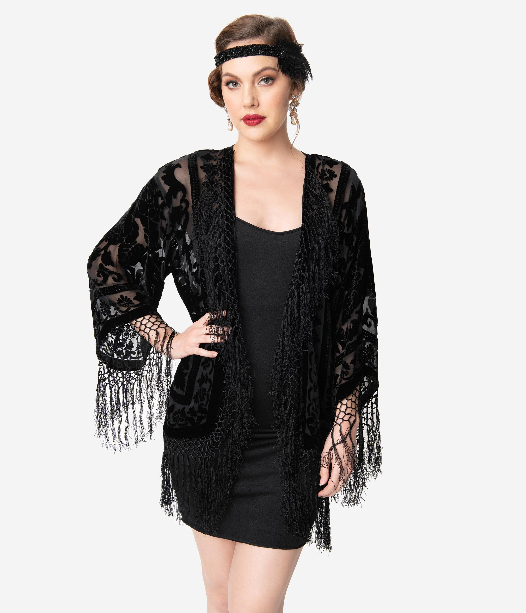 1920s Shawls, Scarves and Evening Jacket Tips Vintage Style Black Devore Velvet Fringe Short Flapper Coat $158.00 AT vintagedancer.com