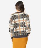 Brown & Ivory Plaid Fuzzy Knit Long Sleeve Sweater