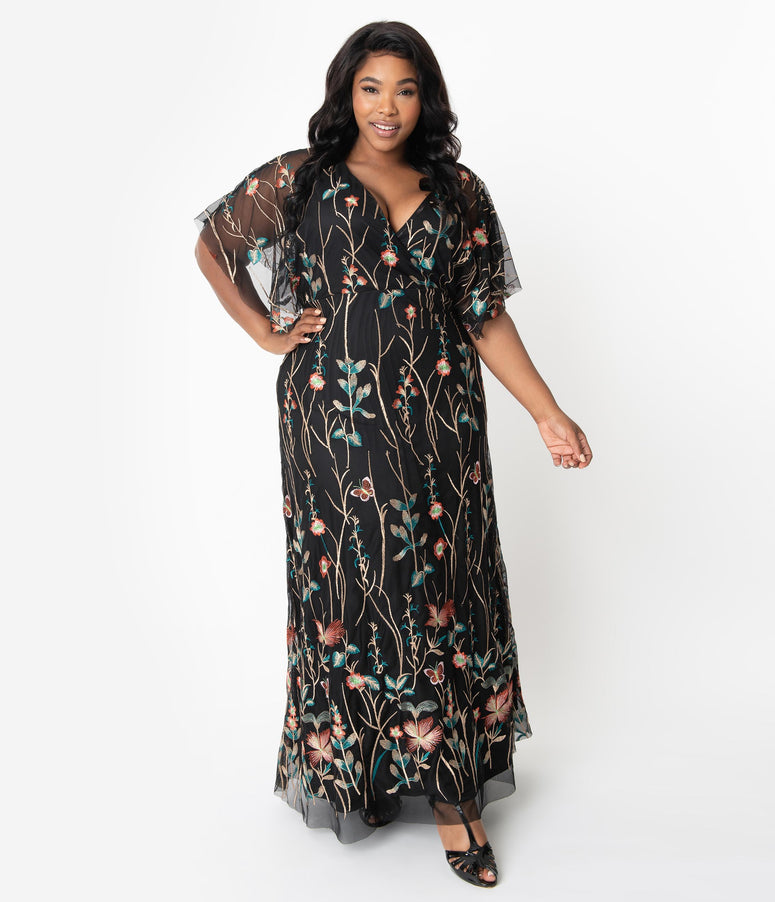 Plus Size Black & Multicolor Floral Embroidered Elegance Evening Gown