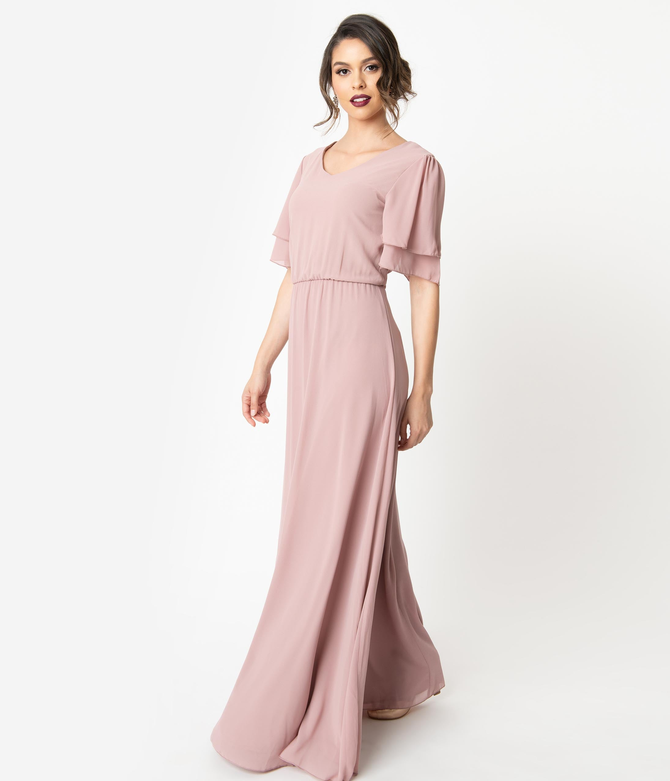 Vintage Evening Dresses and Formal Evening Gowns Vintage Style Lilac Purple Chiffon Butterfly Sleeve Maxi Dress $88.00 AT vintagedancer.com