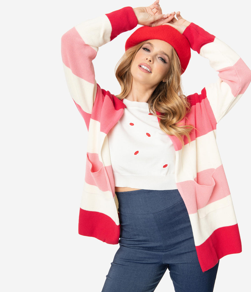 Red & Pink Striped Love Is In The Air Open Cardigan