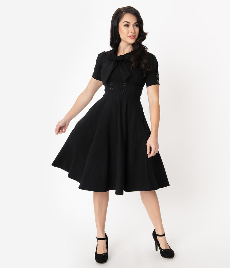1950s Style Black Puff Sleeve Swing Dress