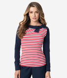 Vintage Style Red & White Stripe Nautical Navy Bow Top