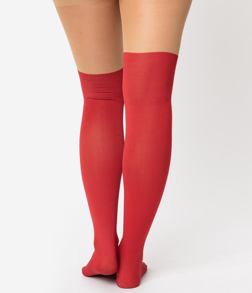 Red & Opaque Snowflake Nylon Tights
