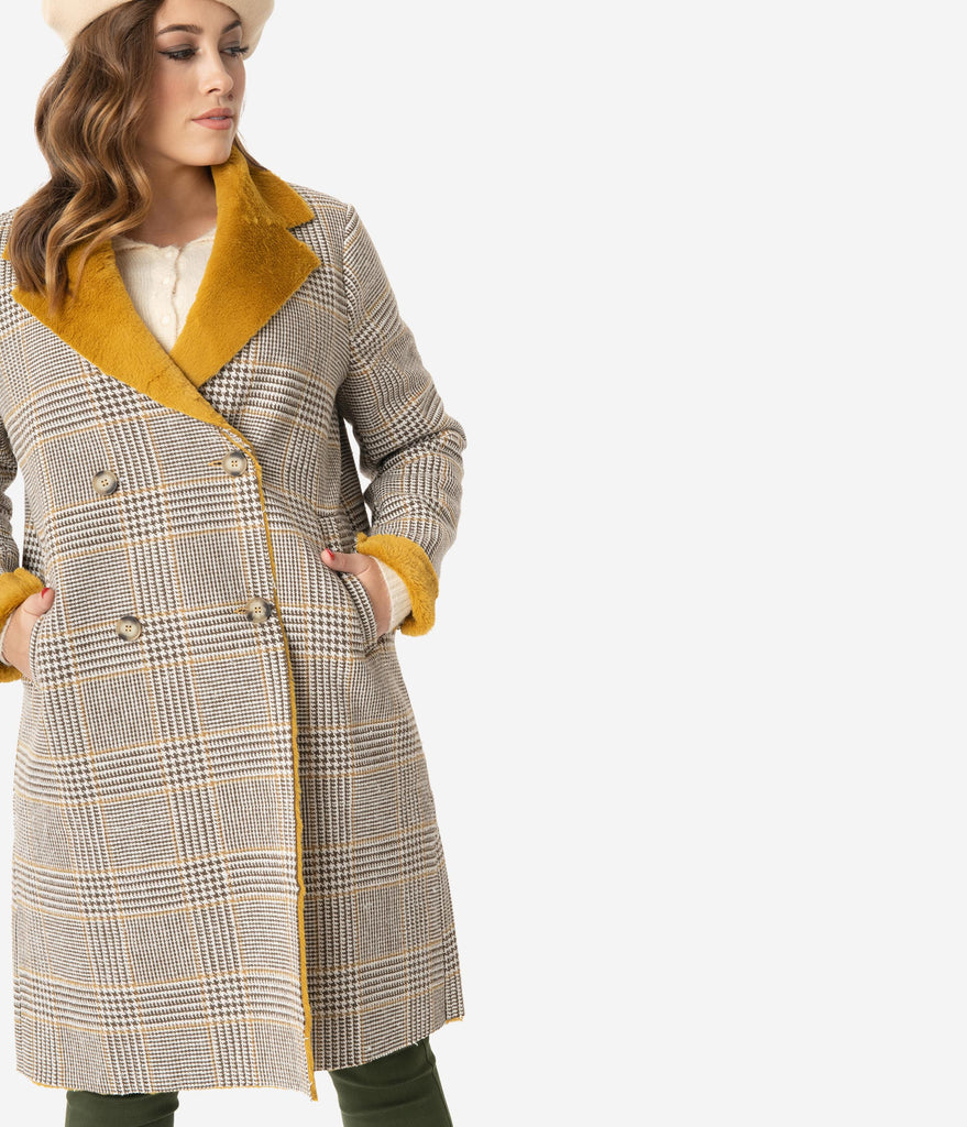 Brown Plaid Coat With Mustard Faux Fur Lining